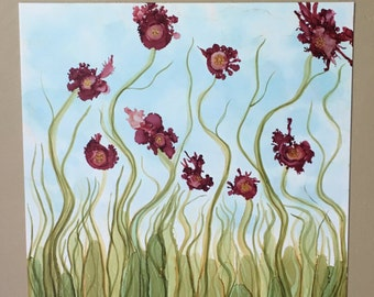 Handmade Original Alcohol Ink Painting--Spring Maroon Blossoms in Green Grass--11x14 on Yupo Paper--OOAK--Great Gift!