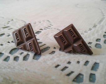 Chocolate Bar Earrings Milk Chocolate Jewelry Fake Food Chocolate Lovers Gift Birthday Gift Resin Gold Earrings Candy Earring BFF Gift