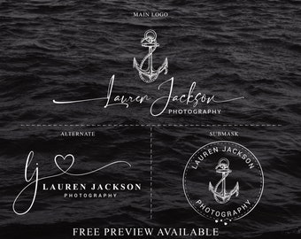 Nautical anchor photography logo,  photography  Watermark, Customized Logo, Brand Set, Photography Logo, R021