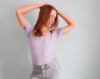 Vintage Lilac Ribbed Short Sleeve Sweater