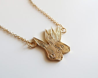 Two-Headed Rabbit Necklace / Gold Plated Sterling Silver Necklace