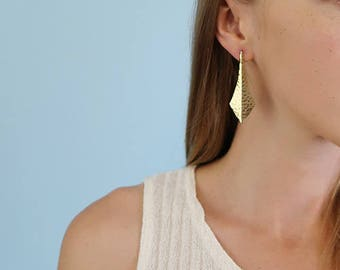 Vintage Gold Tone Hammered/Textured Statement Earrings