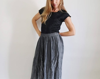 Vintage Crinkly Pleated Silver Maxi Skirt