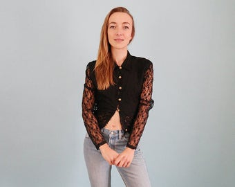 Vintage Black Lace Blouse with Sheer Sleeves and Golden Buttons