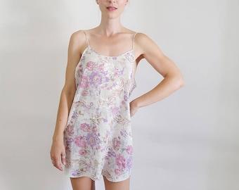 d51f4dd5309cb 90s White Satin Slip Dress with Pretty Pale Purple Flowers