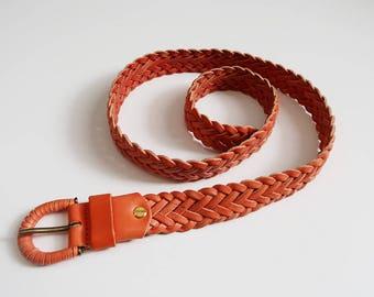 Bright Orange Braided Leather Belt