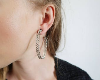 Celtic Braid Silver Wire Oversized Hoop Earrings