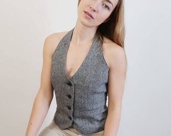Vintage Grey Tweed Halter Vest
