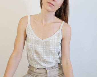 White and Gold Knit Sparkly Thin Strap Top/Jones New York Tank