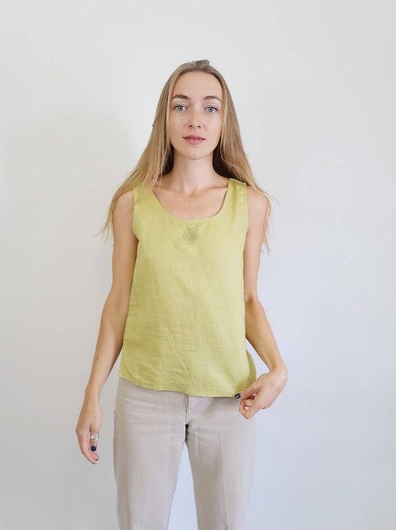 Beautiful Chartreuse Green Linen Tank Top, 90s Tan