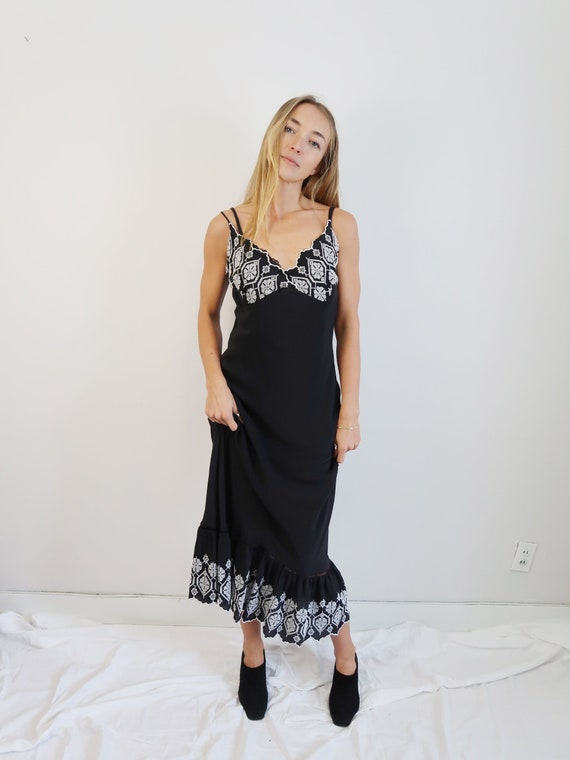 GORGEOUS Black SILK Slip Dress, 90s Slip Dress, 90