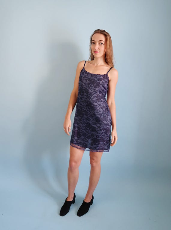 90s Vintage Dark Blue Floral Mini Dresssemi Formal Dress Etsy
