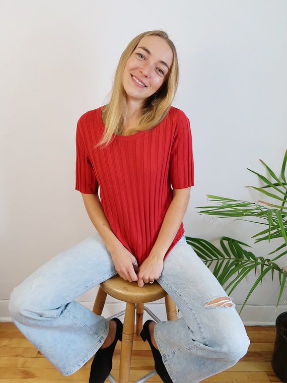 90s Bright Red Knit T-Shirt, Silk T-Shirt, Vintage