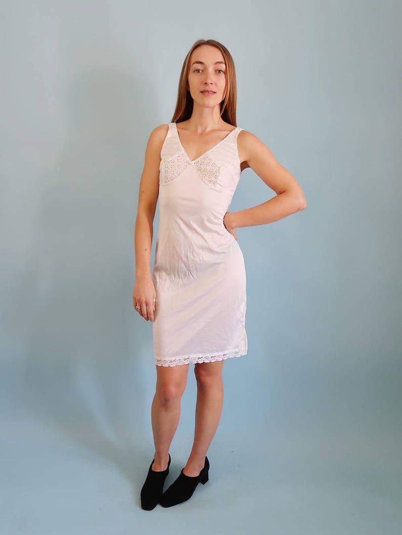 e88a56ee693 Sexy Vintage White Satin Slip Dress