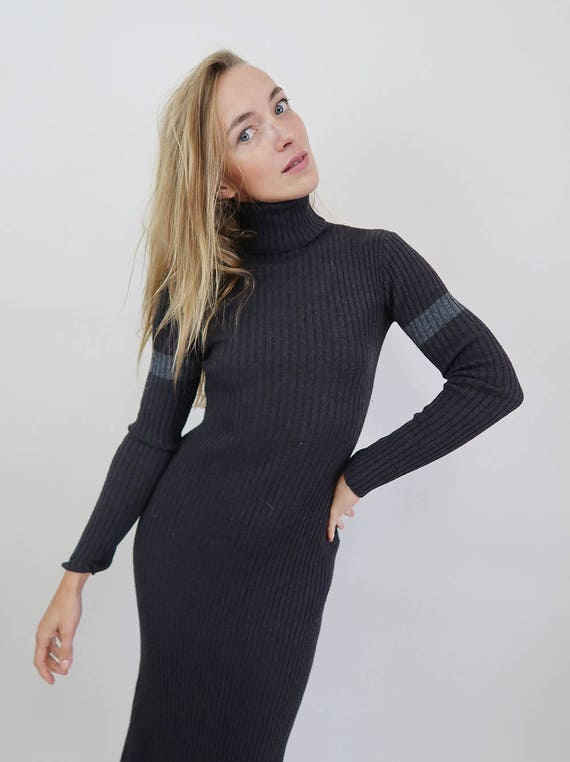 Dress with Turtleneck Sweater Grey 90s Length Full xnwqSwIg