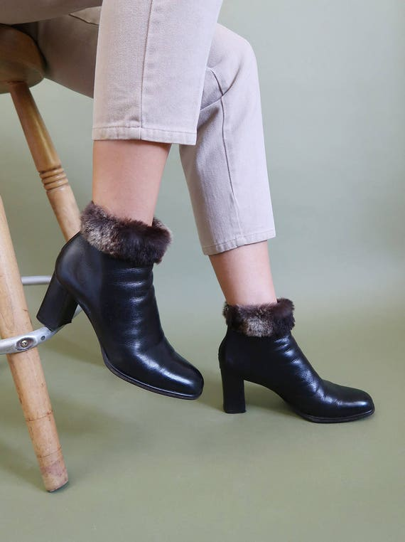 with Boots and Fur Leather Italian Ankle AMAZING Trim Lining Black T1SBg