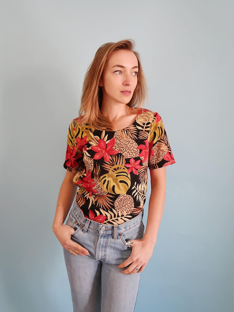 Satin Micro Pleat 90s Grunge Top, 90s Floral Blouse, 90s Grunge Clothing,  Pleats Please