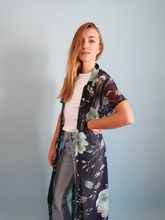 Up Navy Dress Floral Kimono Blouse Blue Button Sheer qtwxrUHt
