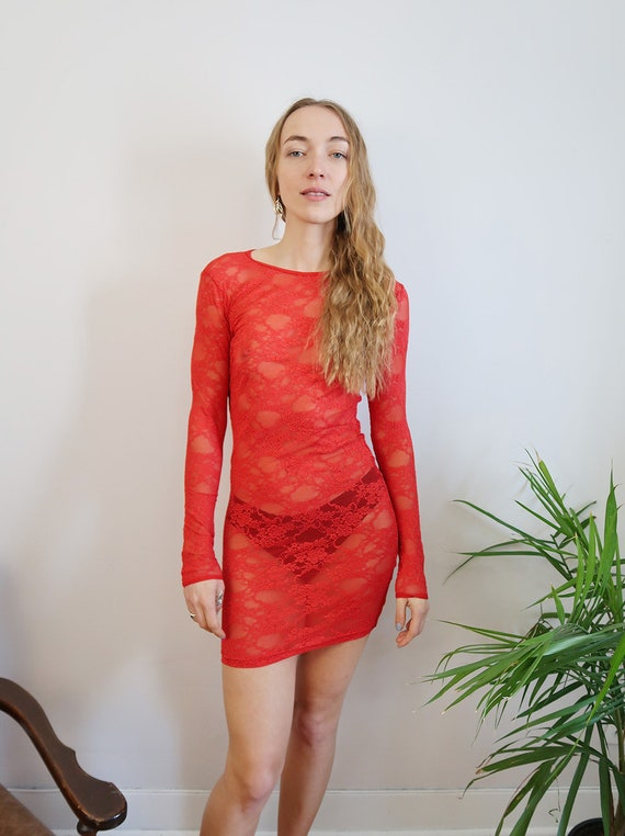 Sexy Sheer Red Lace Dress See Through Lingerie Red Lace Dress