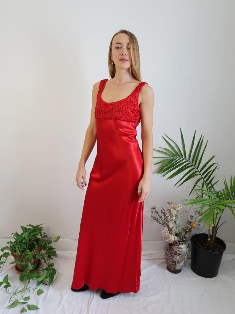 1067963e5d4 STUNNING Red Satin 90s Maxi Dress, Vintage Cocktail Dress, Red Satin Slip  Dress, Vintage Prom Dress