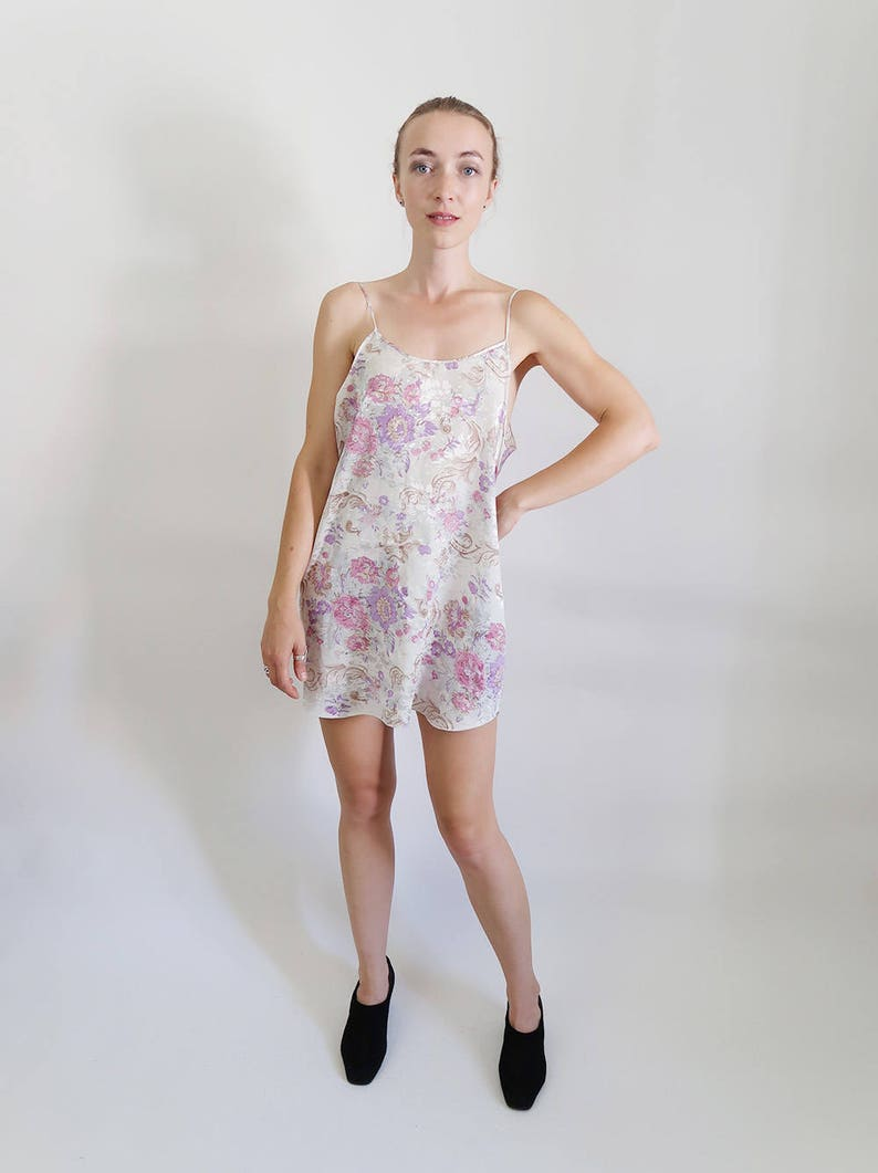 3c0126fed1a 90s White Satin Slip Dress with Pretty Pale Purple Flowers