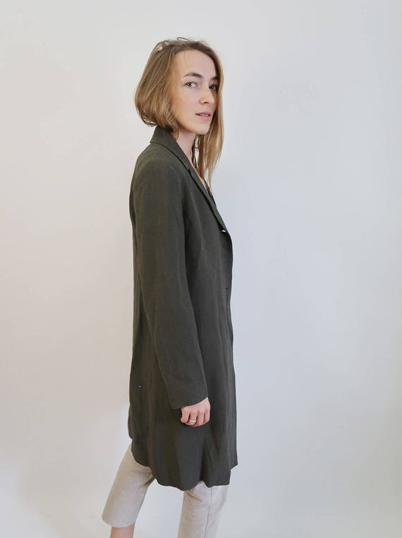 Long Classic Forest Jacket Overcoat Green Minimal Blazer 8qzZtwx