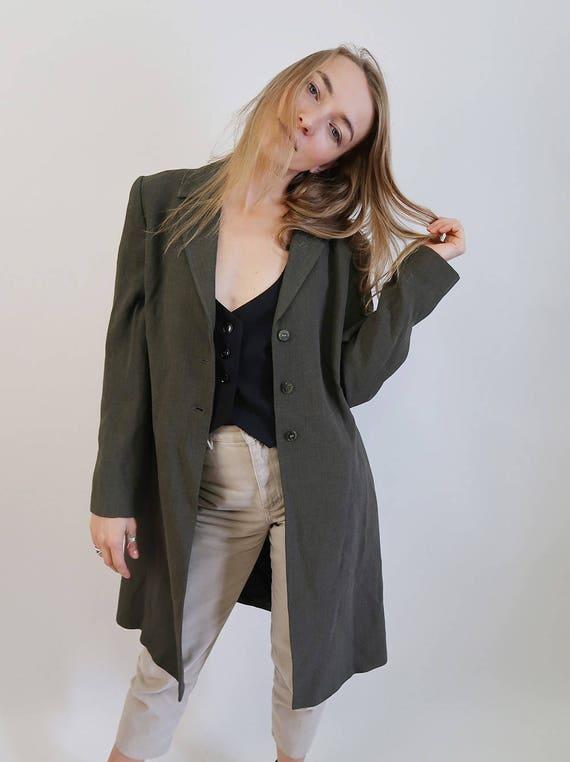 Long Classic Forest Jacket Overcoat Green Minimal Blazer 8qzZtwx