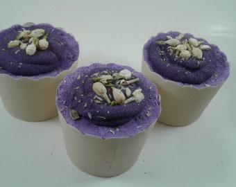 Bath bomb,Lotus Flower Bomb, bath bomb cupcake, bath cake, bath truffle, purple bath bomb, bath bomb made with flowers, unique bath bombs