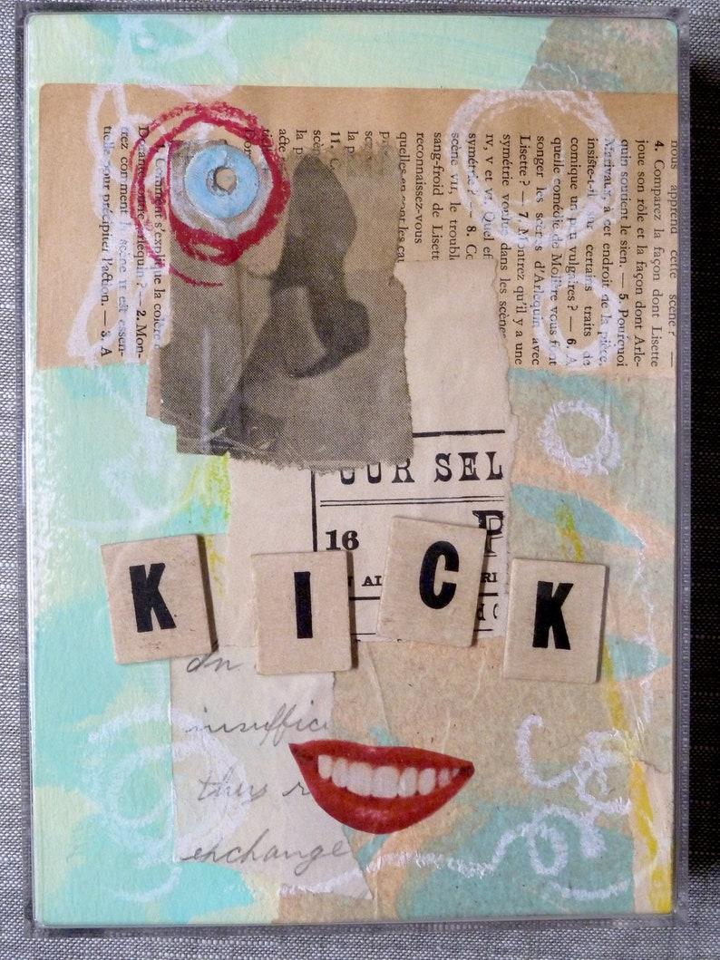 7 x 5 x 1.25 Original Collage A Little Kick   Acrylic box frame