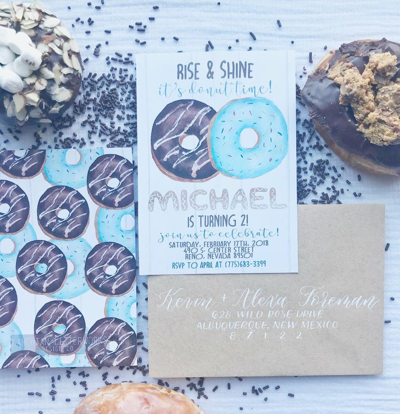 Boy Donut Birthday Invitation Invite