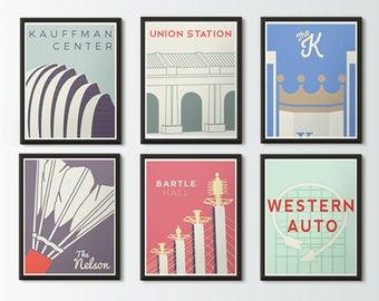 Kansas City Icons Series Posters - KC Skyline - Nelson Atkins, Union Station, Kauffman Stadium, Kauffman Center, Western Auto, Bartle Hall