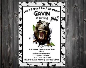 Party Like A Dinosaur Birthday Party Invitation