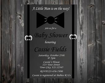 Little Man Baby Shower Chalkboard Invitation