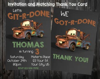 Tow- Mater Birthday Party Chalkboard Invitation