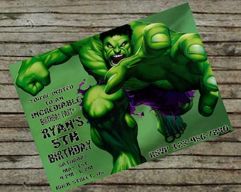 Incredible Hulk Birthday Invitation DIY Custom Order