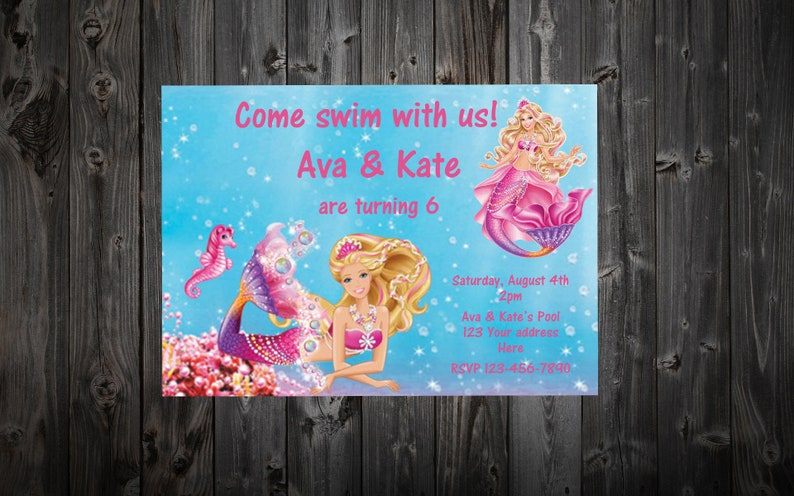 Barbie Mermaid Birthday Party Invitation