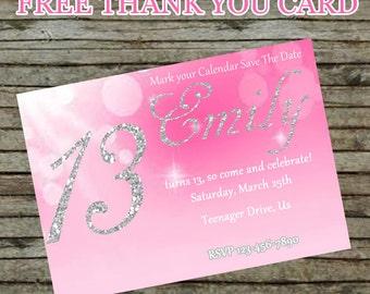 Pink Birthday Invitation DIY Custom