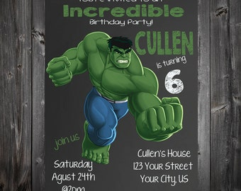 Hulk Chalkboard Birthday Party Invitation