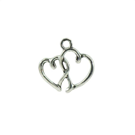 100x Alloy European Bead Heart Love DIY Jewelry Crafts Valentine Bracelet Charms