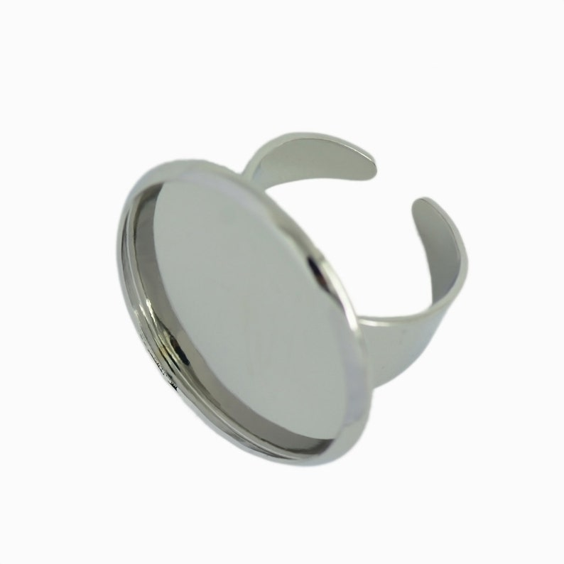 10 x Adjustable Brass Blank Ring Bezel Base for 25mm resin gemstone Cabochon ring jewelry DIY Making Supplies