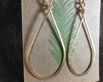 Gold Hoop Earrings, Medium Hammered Hoops, Handmade Jewelry, Minimalist, Everyday Jewelry, Teardrop Dangle, 14K Gold Filled Ear Wires