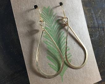 Gold Hoop Earrings, Medium Teardrop Hammered Hoops, Handmade Jewelry, Minimalist, Everyday Jewelry