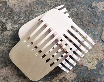 Handcrafted birch ply weaving comb/beater for use with our tapestry weaving loom. Learn to weave