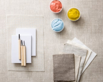 Stamp Carving Kit. Carve your own rubber stamps and print onto fabric or paper.