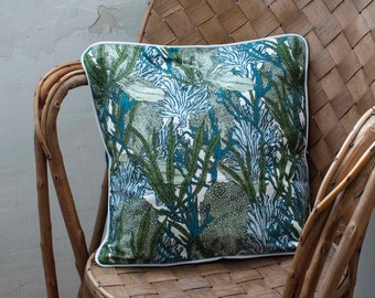 """Cushion cover with piping """"Seaweed"""""""
