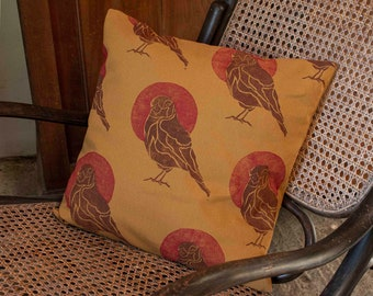 """Handprinted cushion cover """"Bird"""" in curry"""