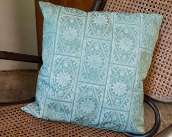 """Handprinted cushion cover """"Cement Tiles"""" in green"""
