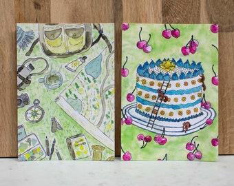 "Postcards ""Birthday Cake"" & ""Adventure"""