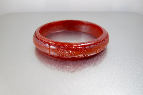 Red Peking Glass Bracelet. Vintage Chinese Brick R