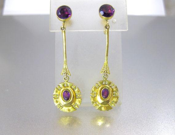 Antique Gold Purple Paste Earrings. Etruscan Bloom